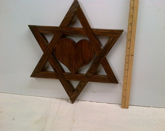 Jewish Star Magen David / Star Of David - With Heart 15 Inch Walnut Stain