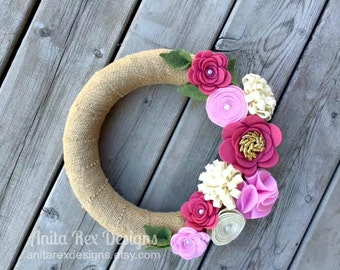 Spring Wreath, Pink Felt Flower Wreath, Burlap Wreath, Modern Wreath, Flower Wreath