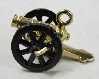 Vintage Miniature Cannon Black Gold Charm for Bracelet or Dollhouse Fairy Garden Rolling Wheels