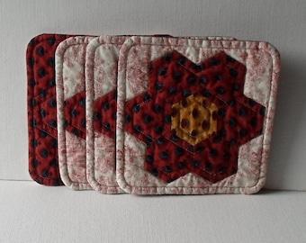 Handmade Coasters French Red Cotton Mug Mats