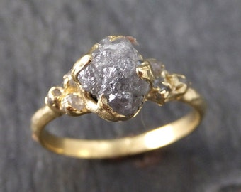 Raw Diamond 18k gold Engagement Ring Rough Gold Wedding Ring diamond Wedding Ring Rough Diamond Ring byAngeline 0128