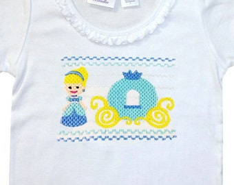Girl's Disney Faux Smocked Princess Cinderella and Carriage Shirt