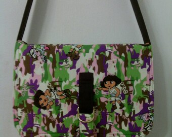Dora Wild Life Camo, Inspired Messenger, Cross Body Bag