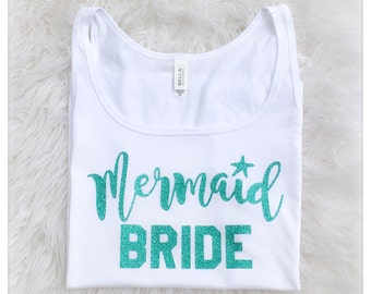 MERMAID BRIDE White Womens Sparkly Glitter Ladies Tank Top - Any Sparkle Color