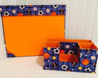 Kids Desk Organizer, Desk Caddy, Desk Pad, Desk Organizer, Desk Set, Sport Desk Organizer, Ball decor