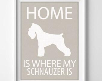 "8x10"" Schnauzer Wall Art, Illustrated Dog Art, Schnauzer Decor, Dog Breed Wall Art, Schnauzer Lover, Miniature Schnauzer, Schnauzer Gift"