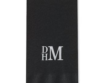 Block Monogram Foil Stamped Paper Guest Towels