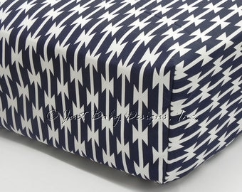 Fitted Crib Sheet - Navy Tomahawks