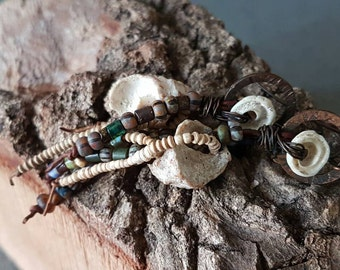 Ancient / Organic Earrings / African Sand Beads / Handmade / Tribal / Fossil / Euthriofusus Virgineus / Fossil Shell / Organic Jewelry