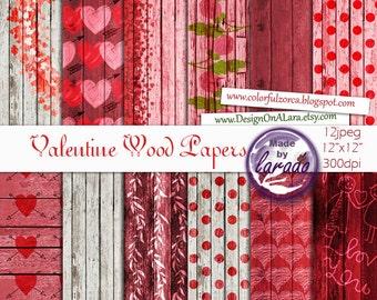 Valentine Wood Papers, Valentine Love Scrapbook Papers, Grunge Wood Paper, Distressed Wood Paper, Love Wood Digital Paper for valentine