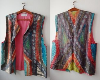 Vintage Ruth Wallenberg vest, hand made vest, Hand Drawn women vest,coloreful vest, abstract print , Free Shipping