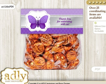 Girl Butterfly Treat Goodie bag Toppers Printable for Baby Girl Shower or Birthday DIY Silver, Purple - ao126bsP4