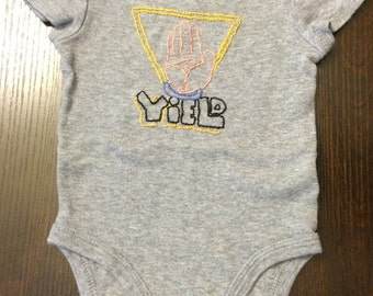 Hand embroidered oneise, upcycled, grey, 0/3 month, yeild oneise, caution parents,