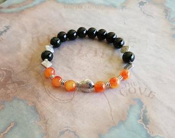 Orange Jade & Green galaxy sitaras bracelet