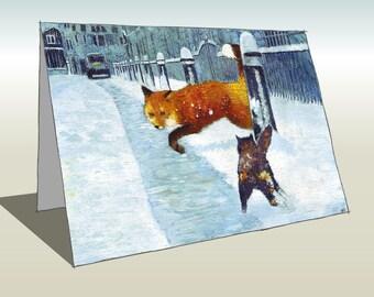 London Fox & Cat Card