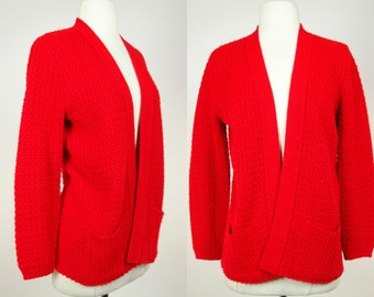 1970s red cardigan, acrylic knit long sleeve sweater top with pockets, Bams knits, Large