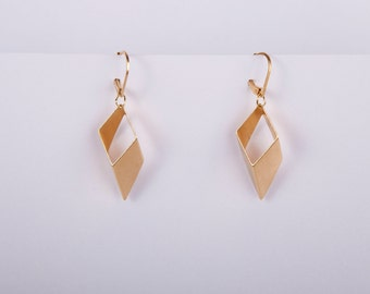 Gold Rhombus Minimal Pendant Earrings Dangly Earrings Golden