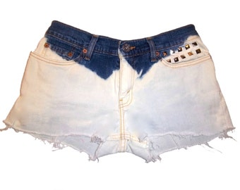 Dip Dyed Denim & White Levi Shorts  with Silver Studs. Size 5