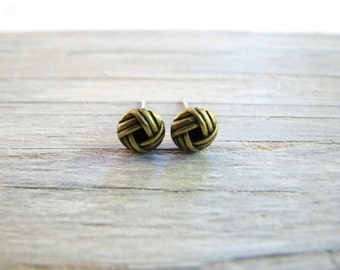 Gold Love Knot Earrings, Small Antiqued Brass Stud Earrings, Everyday Jewelry, Gifts for Mom, Gifts for Men, Simple Minimalist Earring
