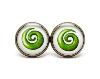Maori Koru Stud Earrings Koru Spiral New Life Earrings Koru Jewelry Green Koru Symbol