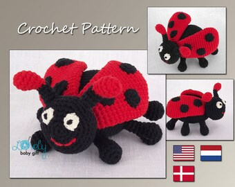 Crochet Pattern, Amigurumi, Red Ladybug, Ladybird, Crochet Toy Pattern, Stuffed Animal Pattern, CP-115