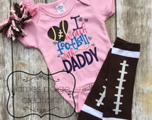 I Watch FOOTBALL with DADDY Bodysuit - Baby Girl Football Outfit Football Baby
