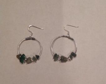 Silver and Green Hoop Earrings