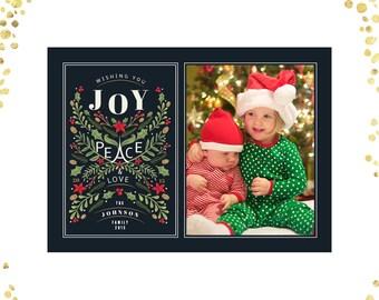 "Chalkboard Joy Peace Love Christmas Photo Greeting Photo Holiday Card -  5"" X 7"" Digital File"