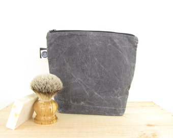 large grey waxed canvas wash-bag, dyed naturally with tea, made with hand prepared waxed canvas, toiletry accessory for him, water repellent