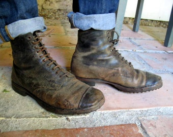 SALE - Antique French brown leather worker, chore boots
