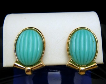 Crown Trifari Earrings RIbbed Turquoise Lucite Cabochons 1950s Gold Tone