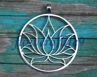 Lotus flower pendant 1 3/8 - Stainless Steel