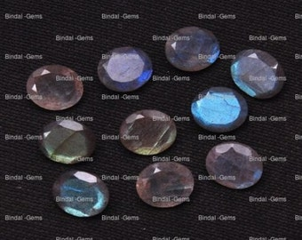 15 Pieces Lot Natural Labradorite Oval Shape Faceted Cut Calibrated Gemstone