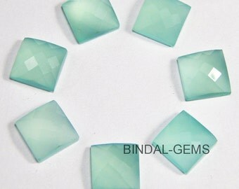 15 Pieces Lot Aqua Chalcedony Square Shape Checker Cut Loose Gemstone