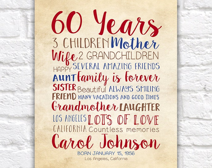 Birthday Gift for Mom, 60th Birthday, 60 Years Old, Gift for Dad, Mother in Law, Mother Gift, Moms Birthday, Bday Gift Idea, Grandma