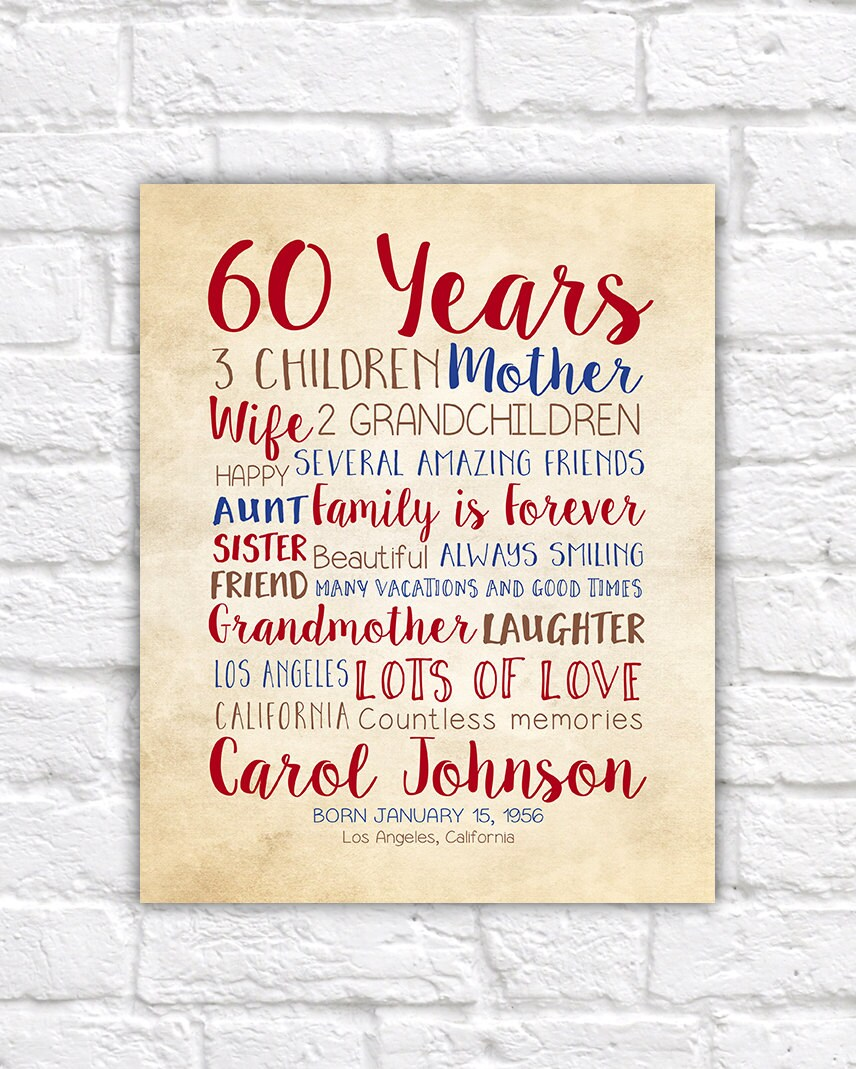 Quotes 60Th Birthday Birthday Gift For Mom 60Th Birthday 60 Years Old Gift For Dad