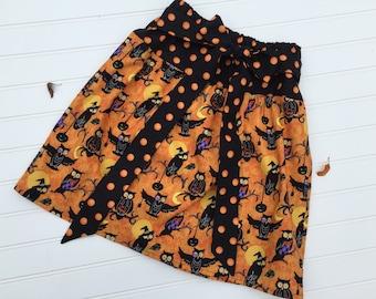 Girls skirt, fall skirt, Halloween skirt, orange black skirt, halloween owl skirt, halloween clothes, halloween skirt for girls, girl size 5