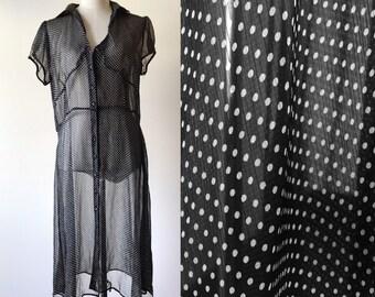 vintage polka dot dress // black and white vintage dress // sheer vintage dress