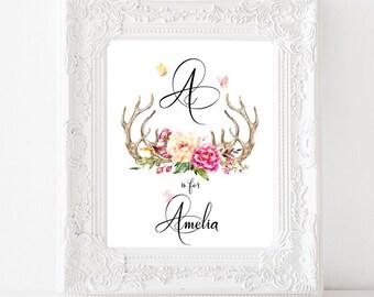 Antler Monogram Name Personalized Nursery Wall Art, Watercolor Peony Butterflies Printable, Printable Baby Name, Tribal, 8x10 JPG & PDF
