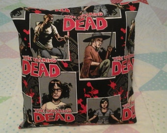 Hand-made comic book THE WALKING DEAD Character's throw pillow back solid black