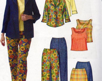 McCall's 4751, Misses Wardrobe Sewing Pattern, Sizes 16, 18, 20, 22, Jacket, Skirt, Pants Pattern, Pullover Top, Front Button Shirt Closure,