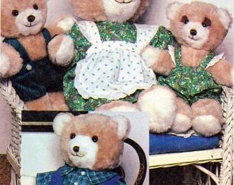 McCalls 7311- Bear Family and Bear Clothing Sewing Pattern, 17 inch Papa and Mama Bear, 10 Inch Baby Boy Bear, 10 Inch Baby Girl Bear, Uncut