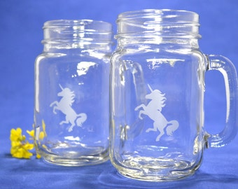 White Etched Unicorn Drinking Glasses  S