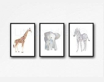 Safari Animals Print Set Of 3 Watercolor Prints Giraffe Elephant Zebra Art Illustration Home Decor 3 Art Prints Unframed Wall Art Wall Decor