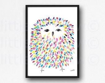Owl Print Colorful Fluffy Owl Watercolor Painting Print Bird Wall Art Owl Print Bird Print Bedroom Wall Art Owl Art Wall Decor