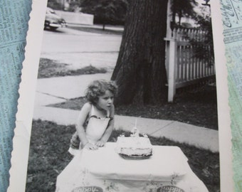 Original Early 1950's Black and White Photo of Little Girl Blowing Out Birthday Candles