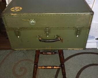 Vintage Industrial 1940s US Navy Seapack Suitcase Side Table Wet Bar