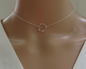 Silver Choker Necklace, Choker Necklace, open circle choker, sterling silver choker, dainty choker necklace, mhd