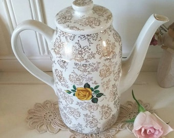 Vintage Coffee pot with gold chintz and yellow roses. TP038.