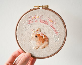 "Do a Little Dance - Baby Bunny Rabbit & Flowers Handmade Embroidery Hoop Wall Art - Textile Artwork in 5"" hoop - Gift for Home"